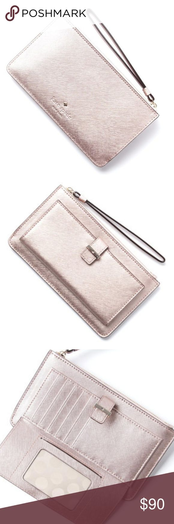 Kate Spade Rose Gold Karolina Pre-owned. Used for two weeks! Signs of normal everyday use on hardware. 4.1 in. X 7.2 in. X 0 in.    * I consider the wear of every item and price accordingly. Please consider this too as you make an offer.   * Please don't forget Poshmark takes 20% of sales. kate spade Bags Clutches & Wristlets