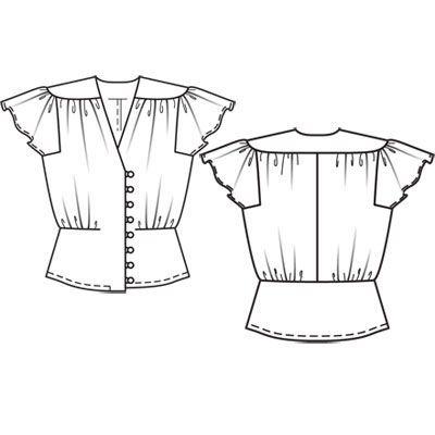 Блузка - выкройка № 102 из журнала 1/2011 Burda – выкройки блузок на Burdastyle.ru