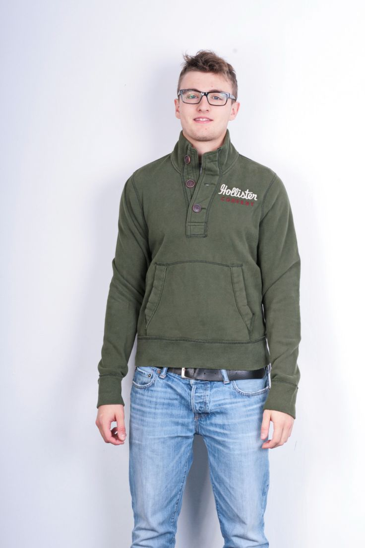 Hollister California Mens M Sweatshirt Green Cotton Jumper