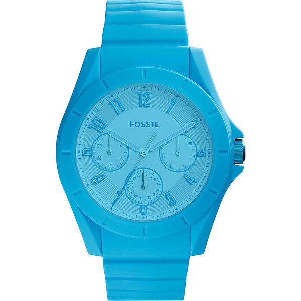 Fossil Poptastic Multifunction Silicone Watch - Blue - Men's Watches ($95) ❤ liked on Polyvore featuring men's fashion, men's jewelry, men's watches, blue, mens blue watches, mens watches jewelry, mens leather strap watches and mens silicone watches