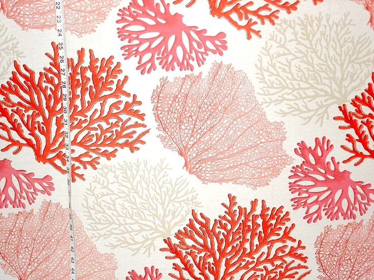 Red coral fabric pink salmon orange ocean from Brick House Fabric: Novelty Fabric for curtains or bench seat in nursery