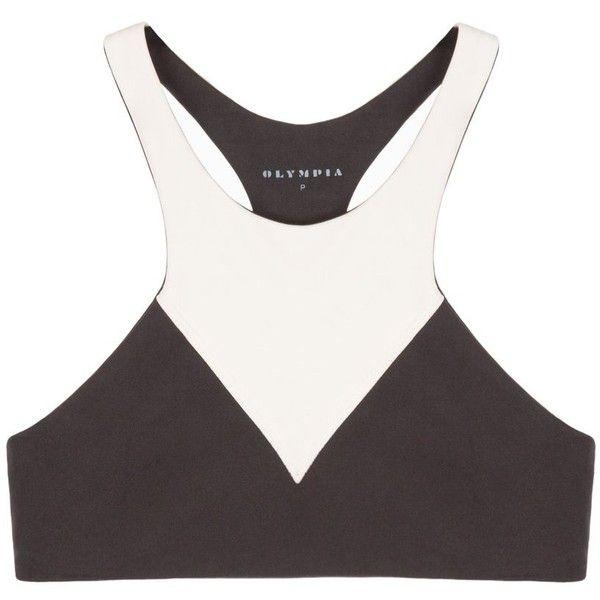 Olympia Activewear Lyon Sports Bra ($84) ❤ liked on Polyvore featuring activewear, sports bras, olympia, high neck sports bra, white sports bra, strappy sports bra and petite sportswear