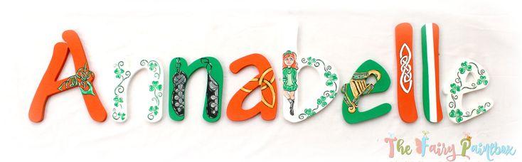 Irish Dance Painted Letters, Celtic Nursery Letters, Irish Baby Bedroom Decor Ireland Nursery Letters Irish Flag Celtic Nursery Prop Letters http://etsy.me/2ngSlyW #housewares #homedecor #woodletters #paintedletters #paintedwoodletters #irelandnursery #irish