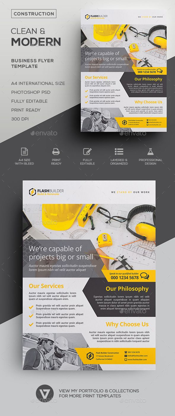 construction flyer corporate pinterest flyer design business flyer and flyer template