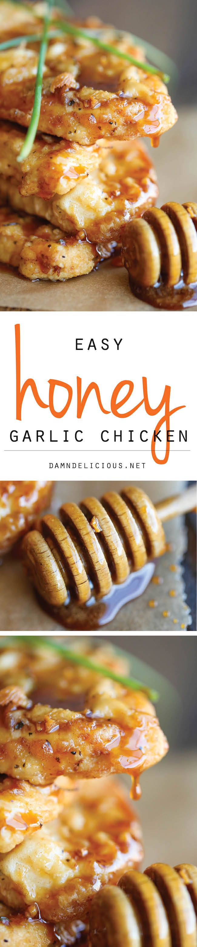 Honey Garlic Chicken ~ The most amazing crisp-tender chicken with a honey garlic sauce that is out of this world!