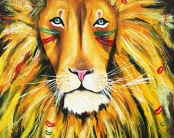 Iron Lion Zion abstract lion colorful rasta by TarasArtHouse