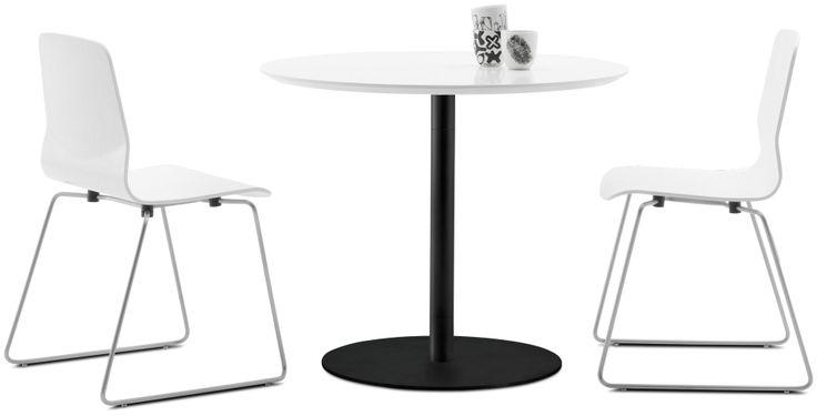"NEW Table, white lacquer/matte black structure lacquer. H29½xØ35½"". [Occa - T008]"