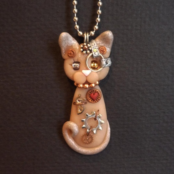 Steampunk Sphynx Kitty Cat Necklace Polymer Clay Jewelry