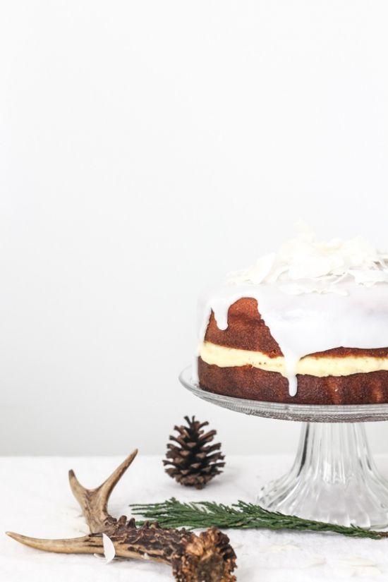 coconut sponge cake with ginger buttercream.