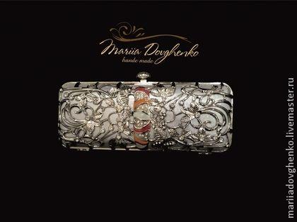 """Клатч-бокс вечерний """"Uccello del paradiso """" - серебряный,клатч,клатч ручной работы"""