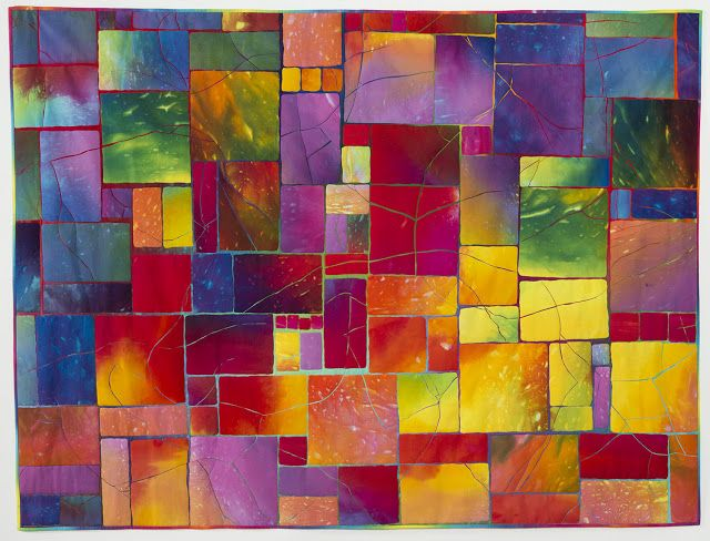 Melody Johnson - Street Dance hand dyed cottons, fused & machine quilted. From 1997 Quilt National.