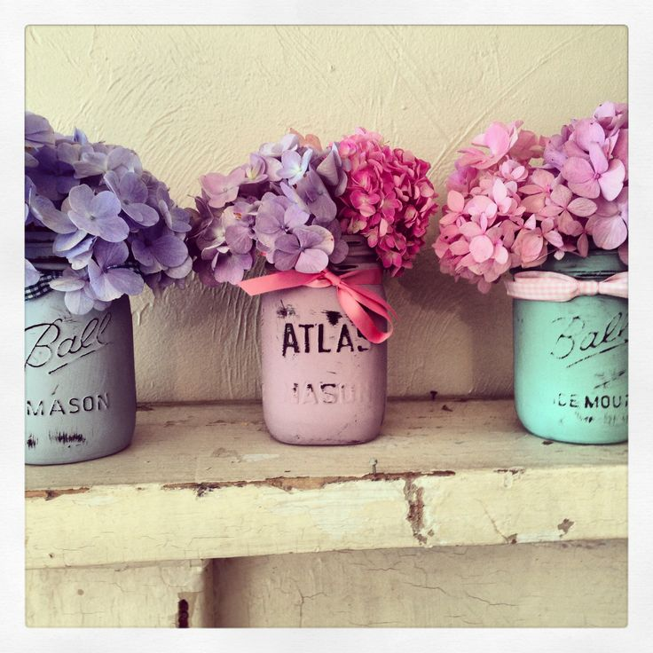Mason jars painted with Chalk Paint by Annie Sloan.