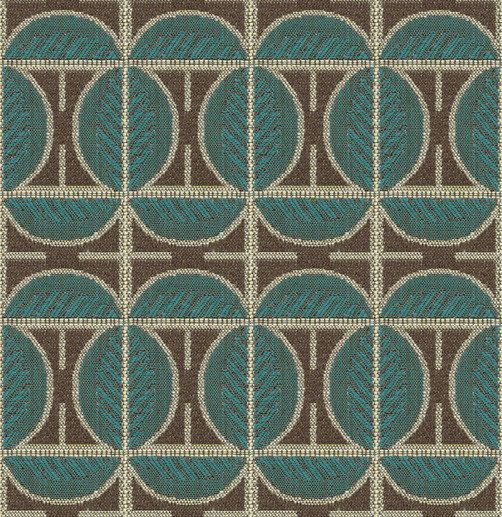 Art Deco Art Nouveau Brown And Blue Flat-Weave Curtain and Upholstery Fabric | Backhausen Art Deco Leaves Brown and Blue from Loome Fabrics