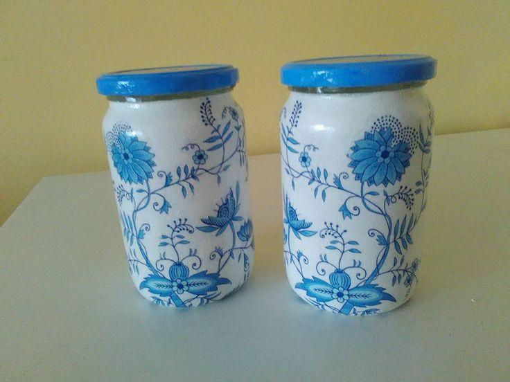 Photo of Pair Blue White Glass jars
