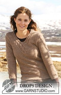 """DROPS jumper with cables in """"Alpaca"""" with 3/4 sleeves or long sleeves. Size S - XXXL. ~ DROPS Design"""