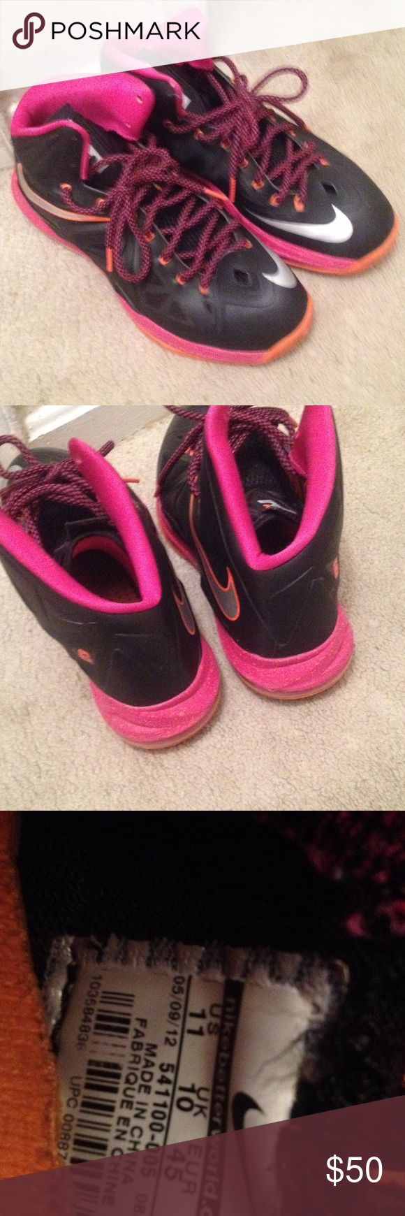 Lebron X shoes Black and pink Lebron X tennis shoes. Good condition. No box. Nike Shoes Athletic Shoes