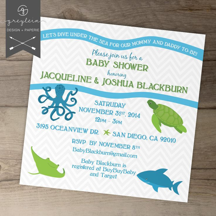 under the sea creature baby shower invitation octopus turtle sand shark waves chevron matching party decor