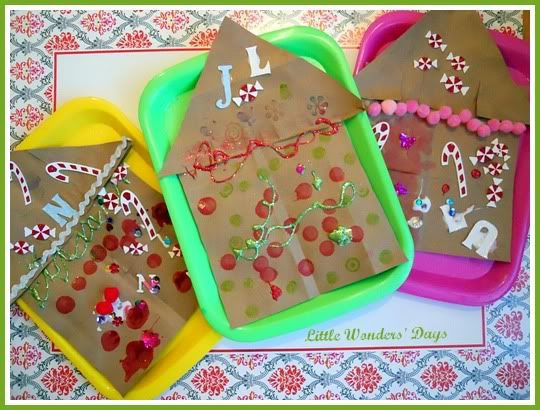 paper bag gingerbread house craft via Little Wonders' Days (my kind of gingerbread house!!)