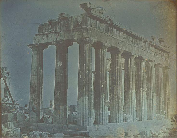 Πρόσοψη και βόρεια κιονοστοιχία του Παρθενώνα στην Ακρόπολη, Αθήνα, 1842. Josepf-Filibert Girault de Prangey Πηγή: www.lifo.gr