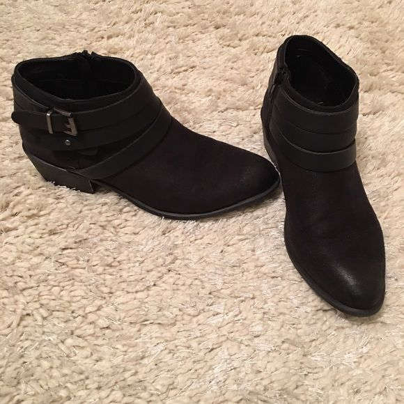 Black Ankle Booties Edgy and chic, these booties can take your outfit from day to night. Worn very lightly, maybe twice. Does not come with box. JustFab Shoes Ankle Boots & Booties
