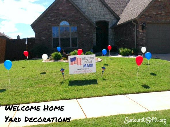 "Welcome Home! | Yard Decorations: Say ""Welcome Home!"" in a very VISUAL way with balloons and a custom yard sign that will sure to impress your loved one and your neighbors!"