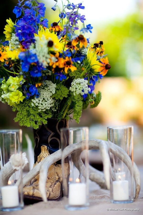 Wildflower & Cowboy boot centerpiece
