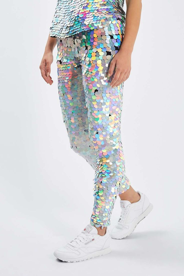 Holographic sequin pants and matching top