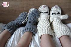 Keet & Co: Gratis Haakpatronen: Pantoffels Schaap en Haai
