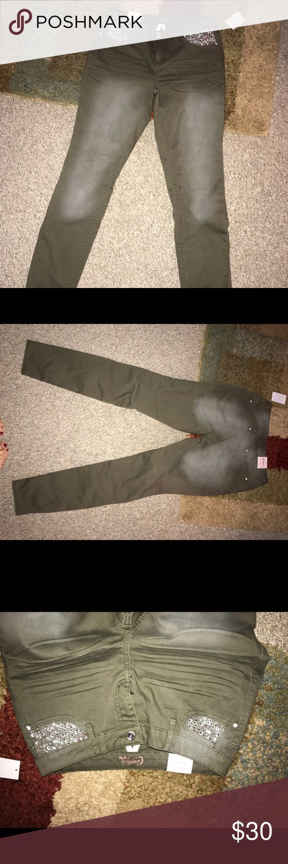 olive skinny jeans olive skinny jeans and sparkly.  size 7 Candie's Jeans Skinny