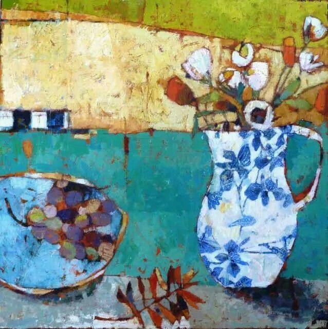 art - painting flowers vase jar bowl