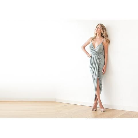 Wrap maxi Sage green tulip dress, Emerald bridesmaids gown, Green tulip maxi dress LAVELIQ