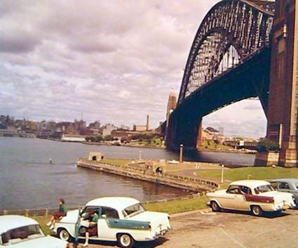 Sydney Harbour Bridge from below, 1961. NAA: A1500, K6511