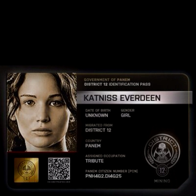District Id Card Hunger Games Catching Fire Katniss
