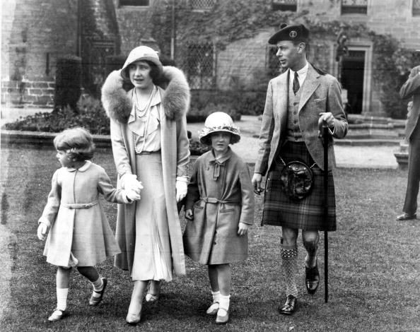 1931  The Duke and Duchess of York accompany Princesses Elizabeth and niece Diana, at Glamis Castle in Angus, Scotland, for the Golden Wedding celebrations of the Earl and Countess of Strathmore, the Duchess's parents.