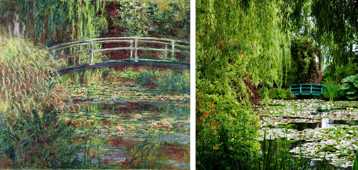 Le Bassin Aux Nymphéas, Harmonie Rose (Waterlily Pond, Pink Harmony), by Claude Monet, alongside the lily pond at Monet's gardens in Giverny, France. (Credit: Fine Art Images/Heritage Images/Getty Images & Vicki Jauron/Babylon and Beyond Photography/Getty Images)