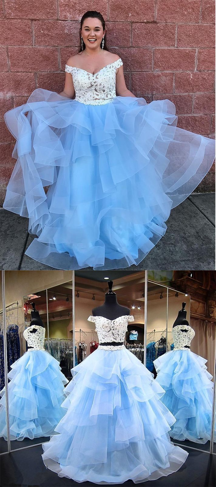Two piece prom dresses offtheshoulder ball gown floorlength lace