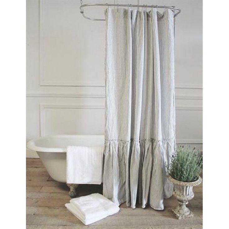 Ruffled Ticking Stripe Shower Curtain @acottageinthecity    #showercurtain #bathroomdecor #linenshowercurtain #ruffleshowercurtain #tubcurtain