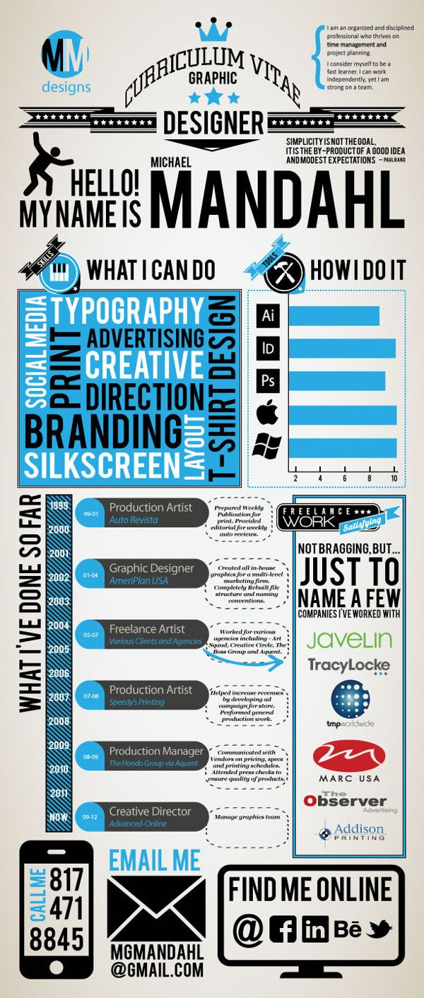 Infographic Resume by Michael Mandahl, via Behance