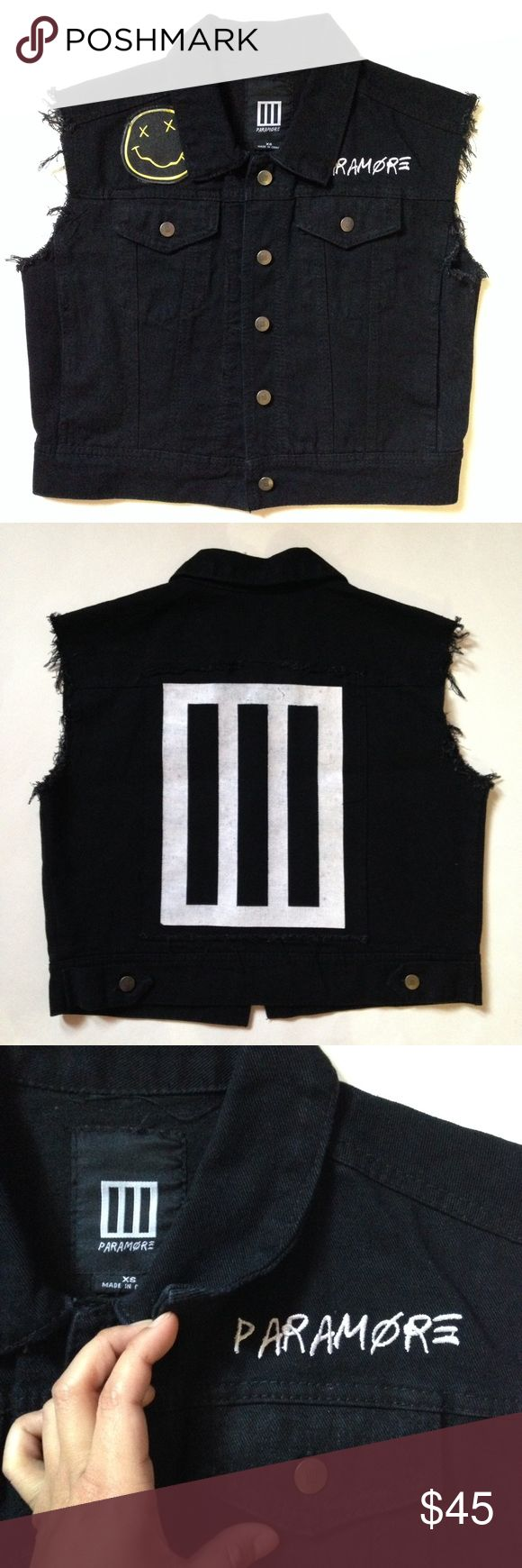 Frayed Paramore Vest Black vest has Paramore's logo on the back along with logo buttons, 4 pockets & bands name. I added the nirvana patch. I don't wear it enough. Purchased on fueledbyramen (no longer being sold)  It's unisex but fits a SM-MD best Paramore Jackets & Coats Vests