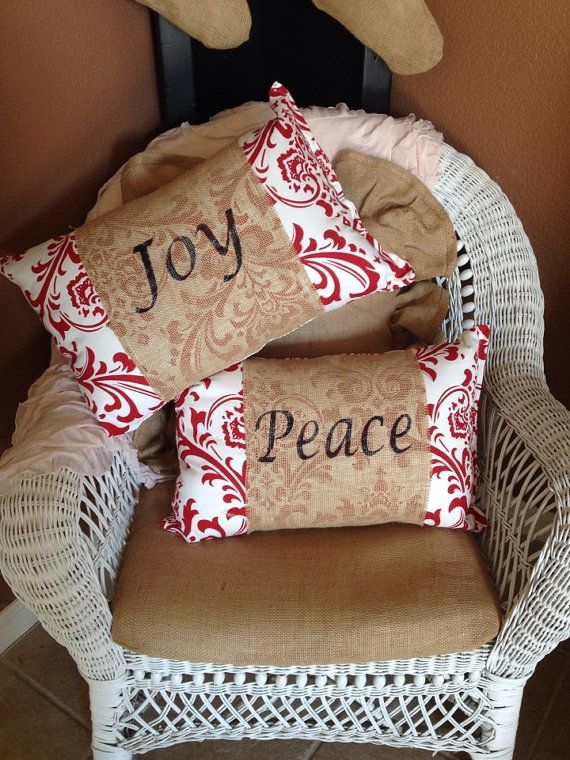 red damask christmas pillow with burlap by