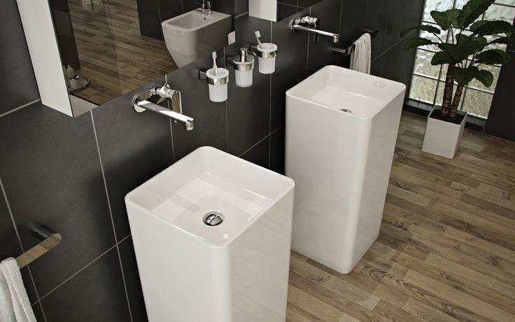 Luxurious Grey Bathroom Design Sink Pedistals listed in: beautiful bathroom,