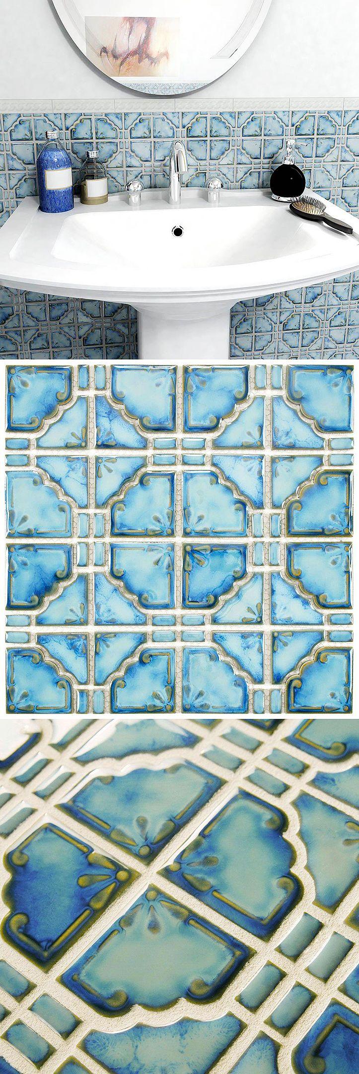 Mosaic floor tiles bathroom - Merola Tile Moonbeam Diva Blue 11 3 4 In X 11 3 4 In X 7 Mm Porcelain Mosaic Tile