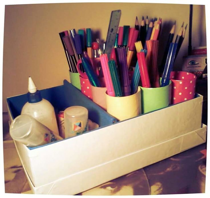 Organizador de escritorio con una caja de carton linda - Organizador de papeles ...