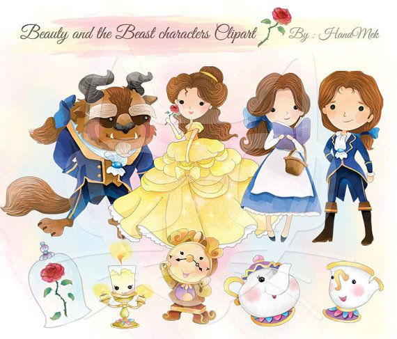 Cute Beauty And The Beast Character ClipartInstant By HandMek