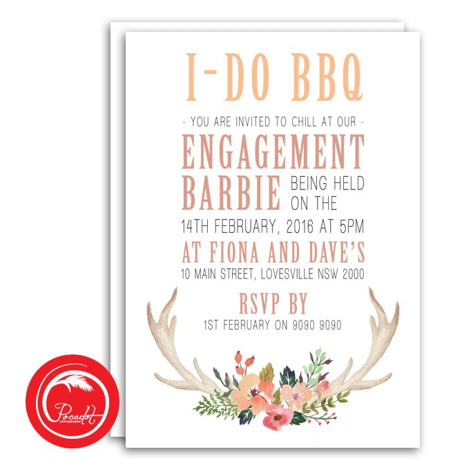 BBQ Engagement Party Invitation