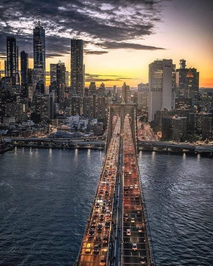 New York City Night Time Usa Reise Stadtlandschaft Und