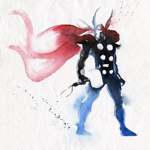 Thor Watercolor Art Print