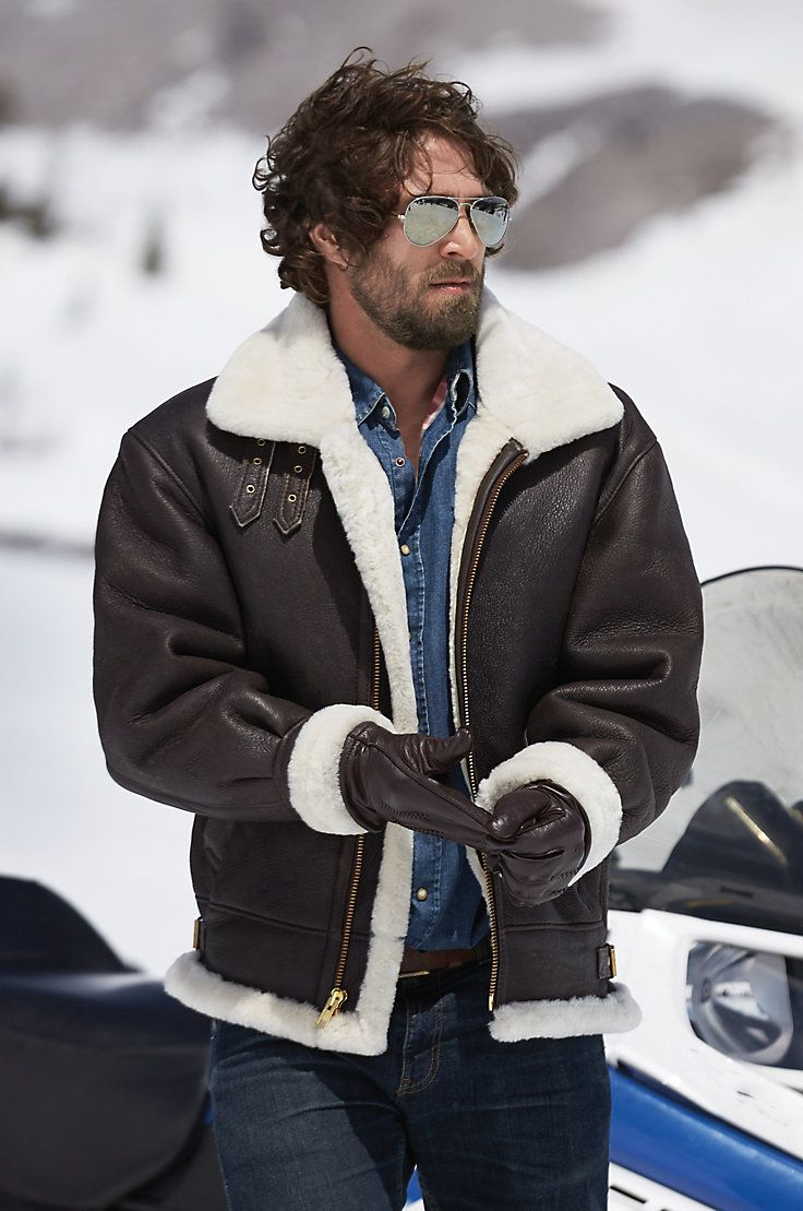 Our Classic Sheepskin B-3 Leather Bomber Jacket is a timeless heavyweight, modeled after the original WWII shearling jackets.