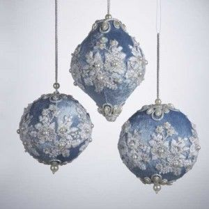 Use pearls and ribbon to make Victorian Christmas decorations