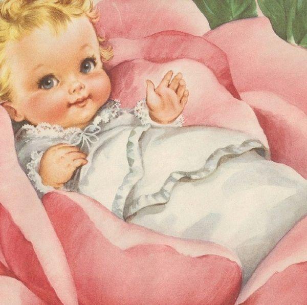 Открытка французском, младенец девочка открытка